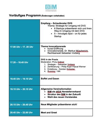 Bild Programm Mitgliederveranstaltung