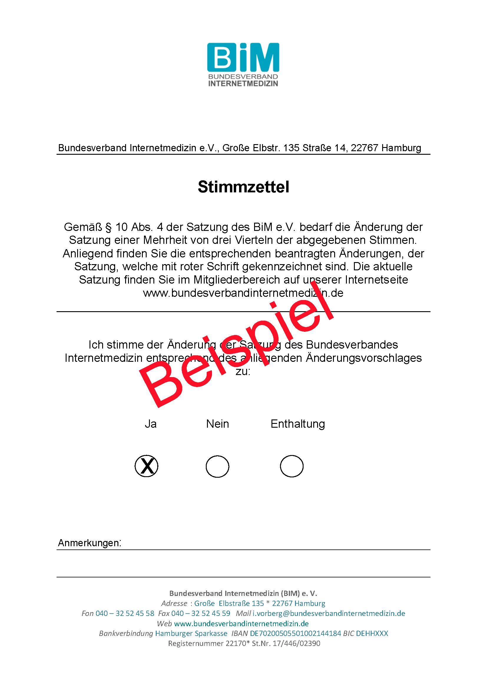 Stimmzettel Satungsänderung für Newsletter