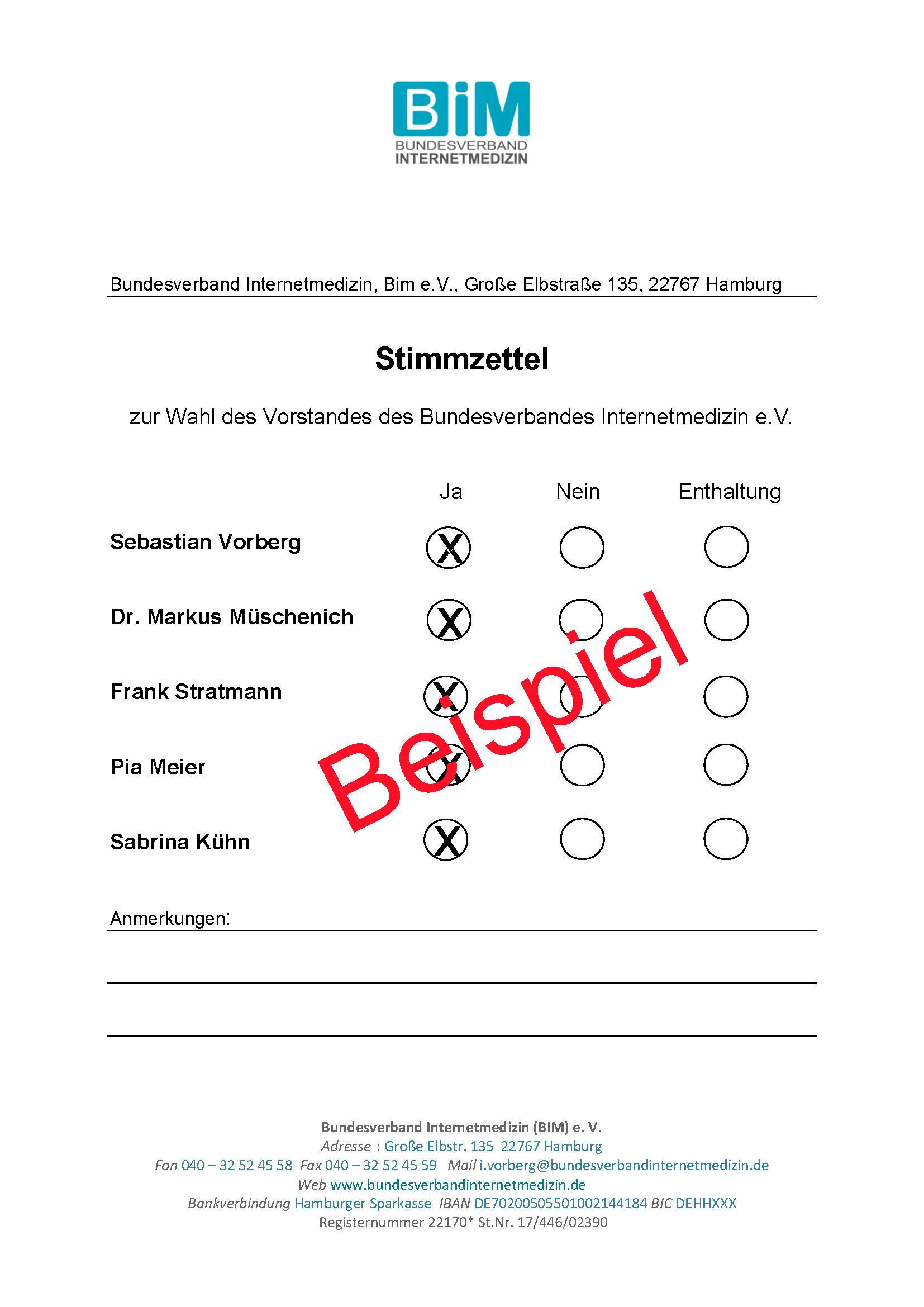 Stimmzettel Vorstand für Newsletter